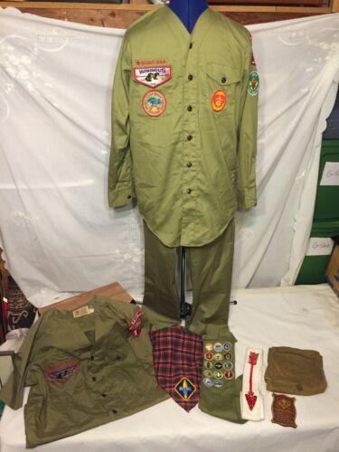Vtg BSA Boy Scout OFFICIAL Uniform (2 Shirts, Pants, Sash, Arrow Sash, Scarf) ++