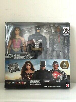 """Mattel DC Justice League Wonder Woman Batman Cyborg 12"""" 3 Pack Action Figure Set"""