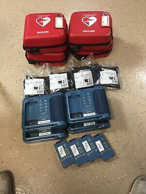 Lot Of 4 - Philips Heartstart Frx Aed - With Battery Case