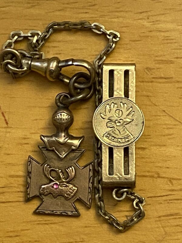 B.P.O.E. Elks Antique Watch Chain & Fob Gold Filled Ruby Inset