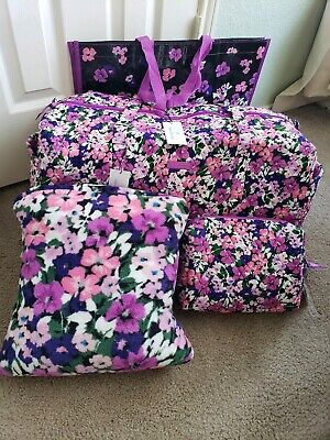 - Vera Bradley FLOWER GARDEN Large Duffel, Cosmetic, Blanket & Shopping Travel Set