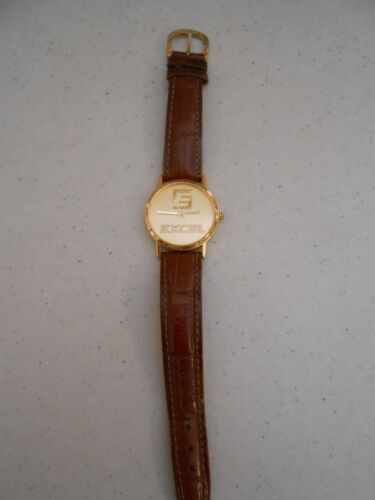 RARE VINTAGE EXCEL COMPANY WATCH BROWN LEATHER STRAP STAINLESS BACK MICRON HTF