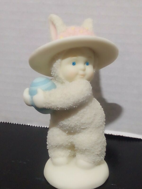 Dept 56 Snowbunnies Snowbabies Easter Bunny With Blue Egg Cute!
