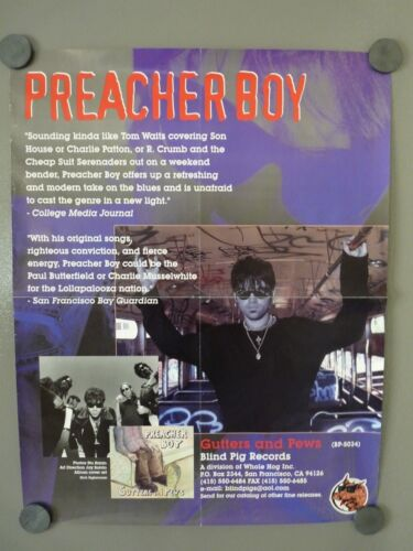 Preacher Boy Gutters  Pews 2002 Lean To 17x22 FOLDED Promo LP Record Tour Poster