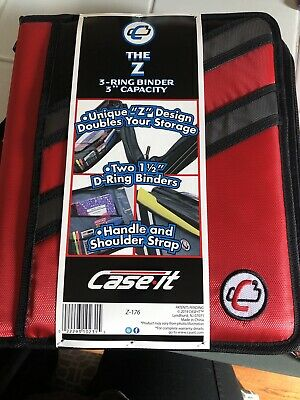 Case-it Zipper Binder The Z Double 1 12 D Ring Binder Strap Handle Red 3