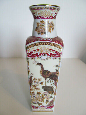 Japanese Porcelain Square Tapered Vase Peacocks - Brown/Red 8