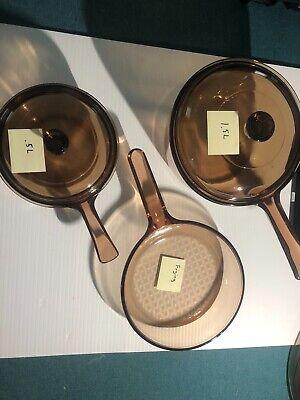 5 PC VISION WARE AMBER COOKWARE GLASS POT 2 SAUCE PAN SET 2 LIDS FRYING PAN Glass Pot Lids