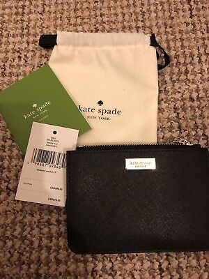 NWT KATE SPADE LAUREL WAY MUSICALDOT BLACK LEATHER BITSY COIN & CARD CASE PURSE
