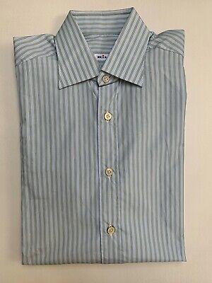 Kiton Men's Shirt, size 15½/39, Green/Blue/White Stripes, Made in Italy