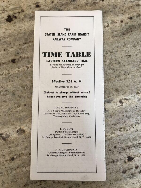 Vintage 1967 Staten Island Rapid Transit Railway SIRT Timetable New York City