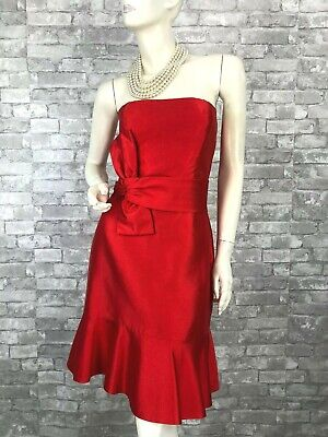 Kate Spade New Red Cocktail Dress 6 8 US 44 IT M  Strapless Ruffle Runway Auth
