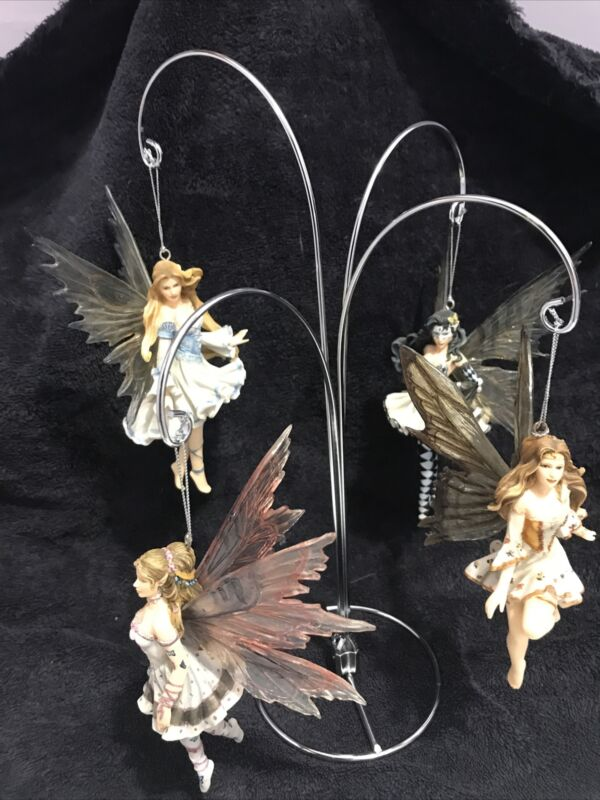 Nene Thomas Faire 4 Ornaments Prelude In Blue, Rhapsody In Gold W/ Display Stand