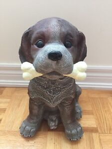 Garden Brown Dog with Bone Statue