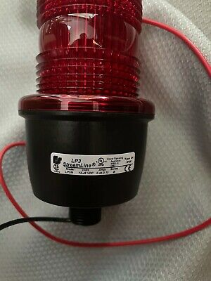 Federal Signal Lp3m-012-048rstrobe Light Male Pipe Mount 12-48vdc Red New