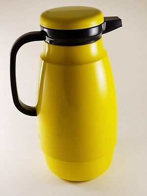 1970s Mod Yellow Crown Corning Thermique Insulated Coffee Carafe Glass -