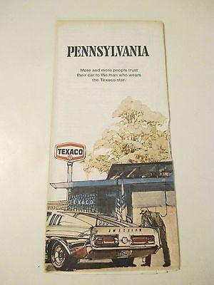 Vintage 1973 TEXACO PENNSYLVANIA STATE Gas Service Station Road Map