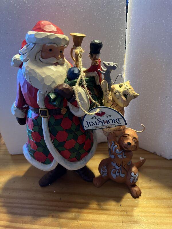 "Jim Shore 2018 Christmas Santa Cat Dog Mouse ""Lend a Hand"""