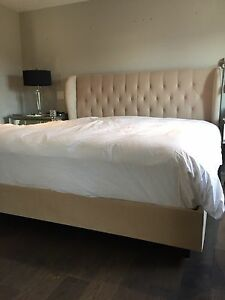 Stunning King Cream Velvet Custom Padded Headboard and Frame