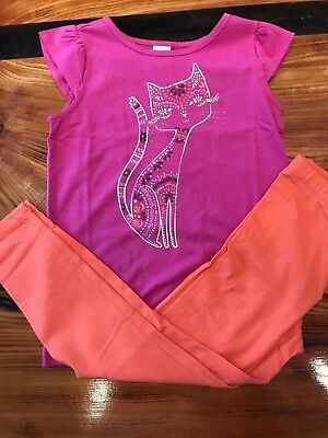 Gymboree Girls Dazzled Kitty Cat Tee w/ Colorful Coral Leggings NWT - Kitty Cat Gym