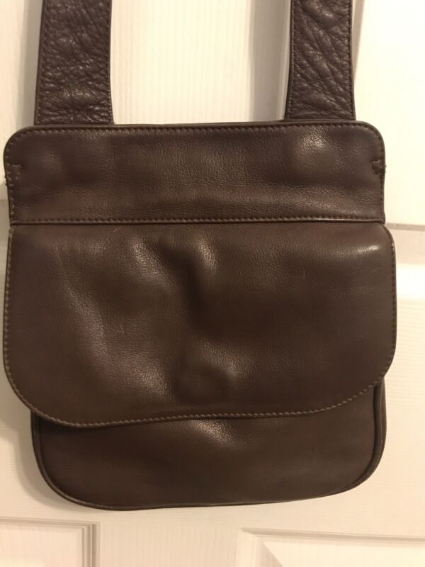 """Orvis 8"""" x 8"""" All Leather Messenger Style Travel Bag Secure Inner Pocket Closure"""
