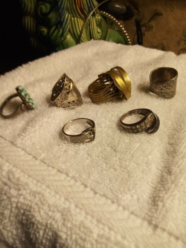 Sterling silver rings lot used