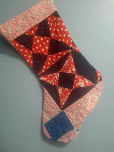 Authentic Hand-stitched American Quilt Christmas Stocking Vintage Antique