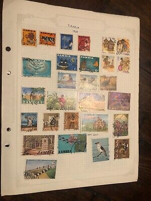 Zambia Page Of Stamps.