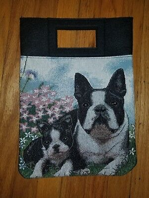 Boston Terrier Dog and puppy tapestry purse book computer bag ltd ed
