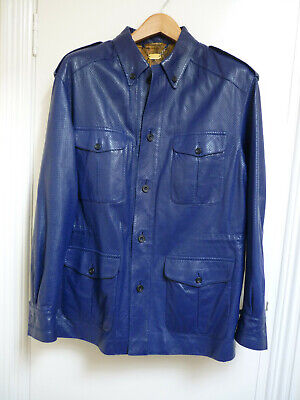 Maurice Sedwell - Bespoke Savile Row - Rich Blue Leather Jacket - XL