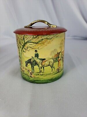 """Vtg Fox Hunt Round Canister Biscuit Tin 5"""" Horses"""