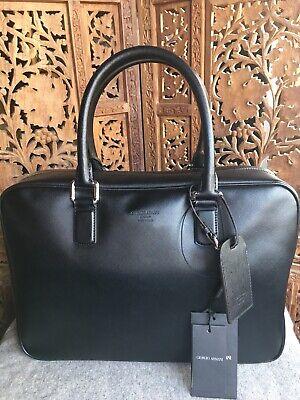 NEW $2k+ Giorgio Armani Black Label Leather Briefcase Bag Saffiano Made In Italy