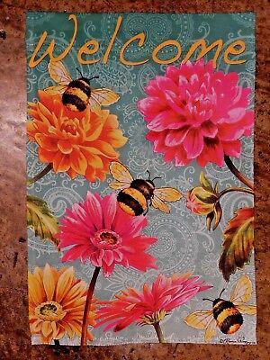 3 Plump Honey bees & Giant Flowers on Blue-green, decorative Garden flag 2-sided