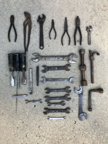 Vintage Older Tool Lot 26 Pieces - Wrenches, Pliers, Chisels - All USA