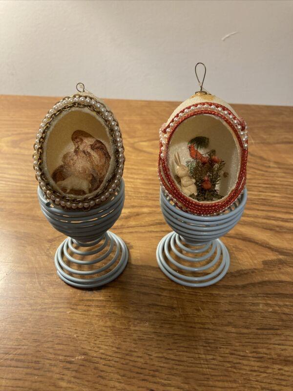 2 VINTAGE HANDMADE EASTER  EGG DIORAMA DECORATION ORNAMENTS w/  Stands Cardinal
