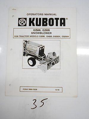 Kubota G2500 G2505 Snowblower Parts Service Manual 7000070228