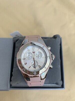$345 NWT MICHELE Jelly Bean Tahitian Dusty Rose Pink Silver Watch MWW12F000089