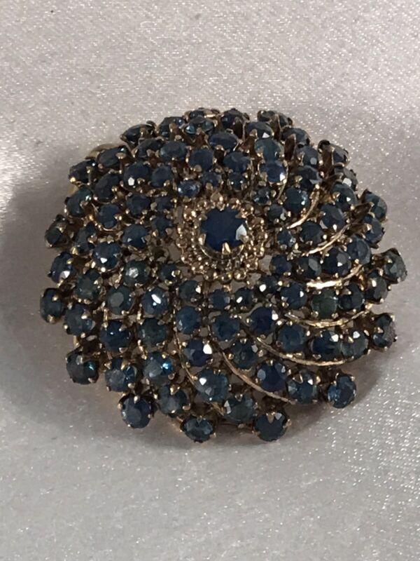 Estate Sapphire and 14K Gold & Genuine Brooch/Pendant