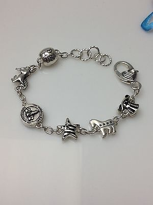 DEMOCRAT FASHION CHARM SILVER BRACELET LOBSTER LOCK  donkey DC love USA star hat