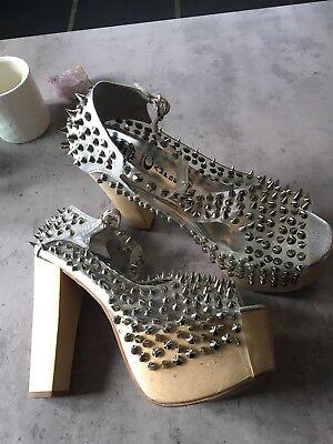 Jeffrey Campbell Foxy designer clear perspex spike platform heels, UK5 VGC