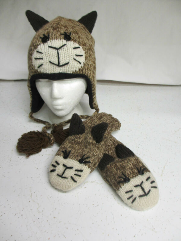 Brown Stitch face CAT HAT & MITTENS MATCHING SET knit ADULT costume FLEECE LINED