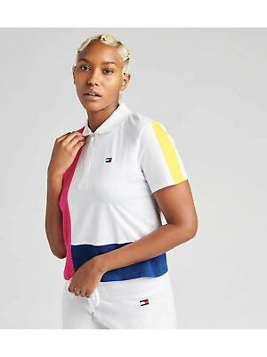 TOMMY HILFIGER $59 Womens New Pink Color Block Short Sleeve Top S Juniors B+B