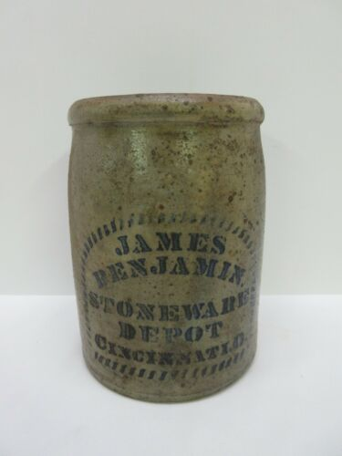 Antique James Benjamin Stoneware Depot Crock Cincinnati Ohio
