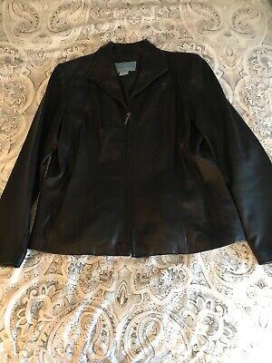 Nine West Black 100% Leather Jacket Size Large Softest Jacket You Will Ever Own
