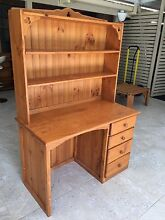 Solid Pine desk with matching hutch Brassall Ipswich City Preview