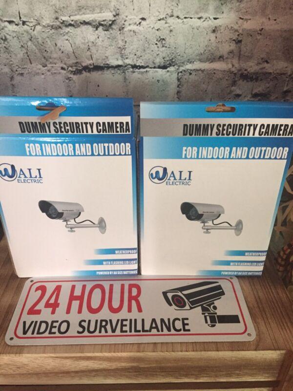 2x Fake Dummy Security Cameras / Waterproof/led Lights/24 Hr Surveillance Sign