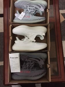 Yeezy red stripe, beluga, cream, blue tint size 10-11 deadstock