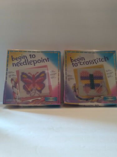 """Lot of 2 New Sealed Quincrafts Begin to Needlepoint Butterflys 6""""x6""""  Ages 6+"""