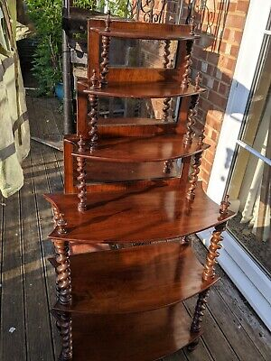 Exceptional Quality Antique Rosewood Whatnot Shelves With mirror Back