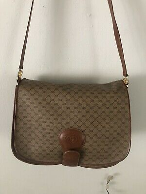 Vintage GUCCI GG Made In Italy Brown Crossbody Satchel Bag 001-261-1100