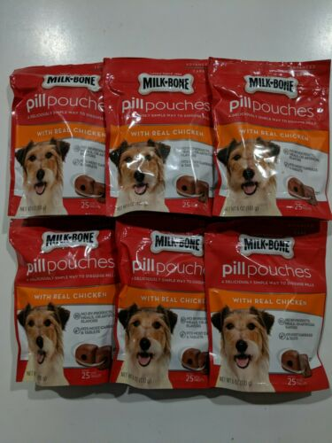 Lot Of 6 - Milk-Bone Pill Pouches Dog Treats Real Chicken Flavor 6 Oz 03/2021 - $35.00